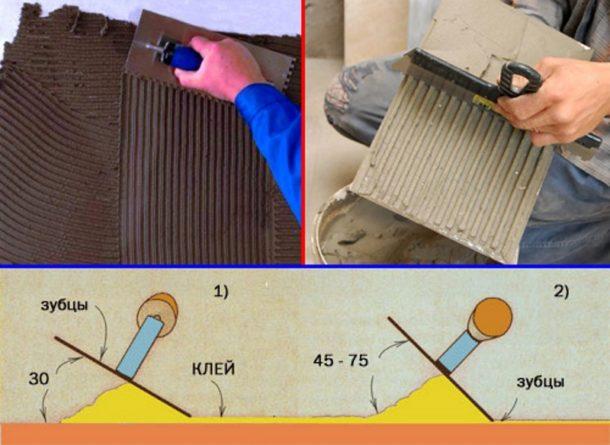 Нанесение клея на плитку и выравнивание слоя зубчатым шпателем