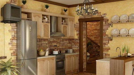 камень для стен кухни 2