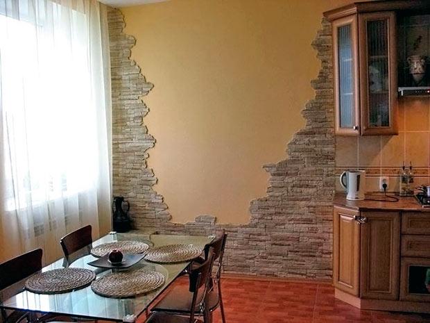 камень для стен кухни