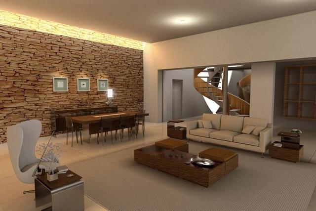 камень на стенах в гостиной