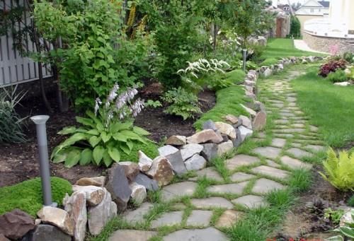 каменный бордюр для садовых дорожек