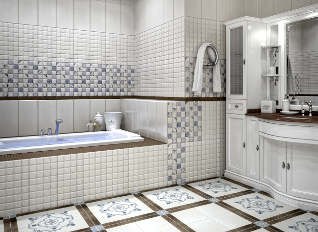 керамическая плитка для отделки пола в ванной
