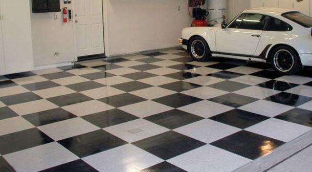 Пример использования керамогранита для покрытия пола в гараже