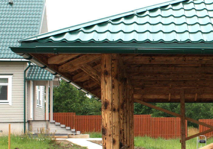 крыша беседки металлочерепица