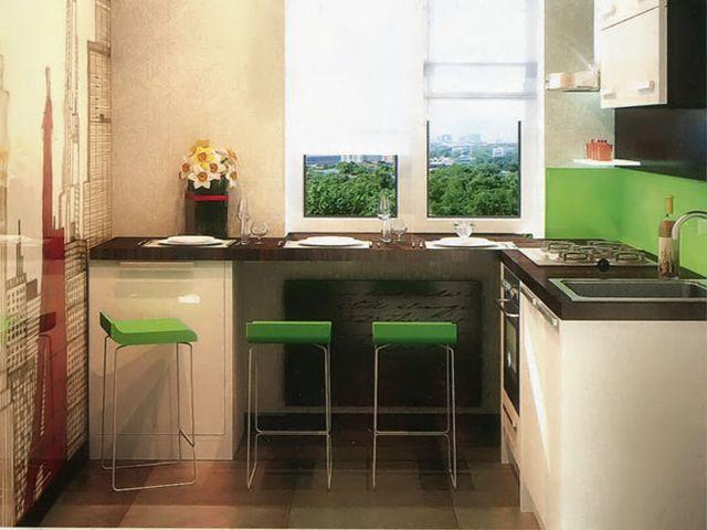 кухня в хрущевке подоконник 6