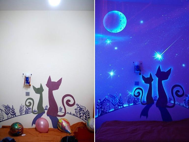 люминесцентные обои спальни