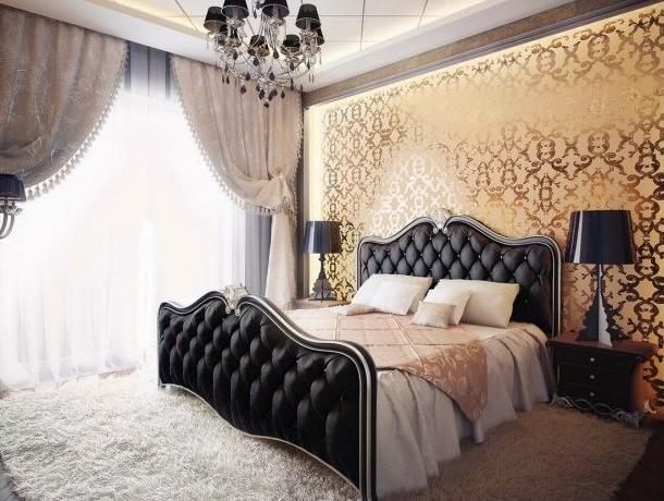 металлические обои в спальне