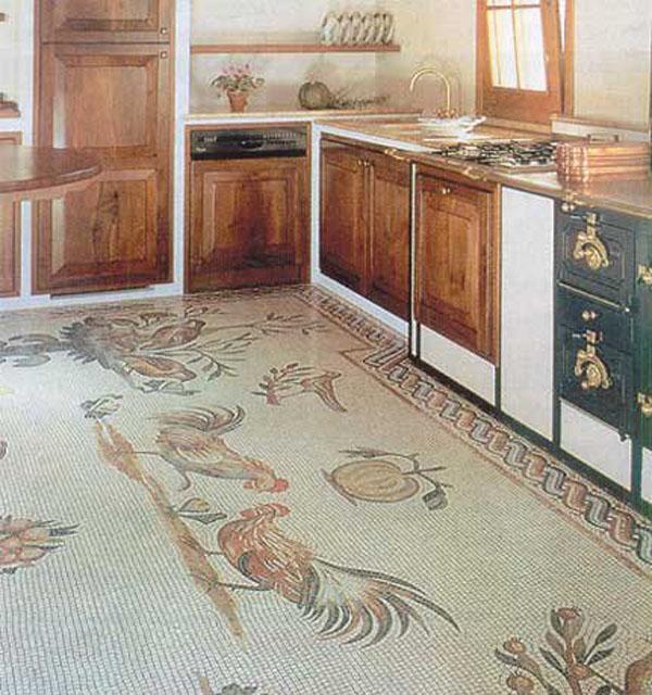 мозаика на пол на кухне