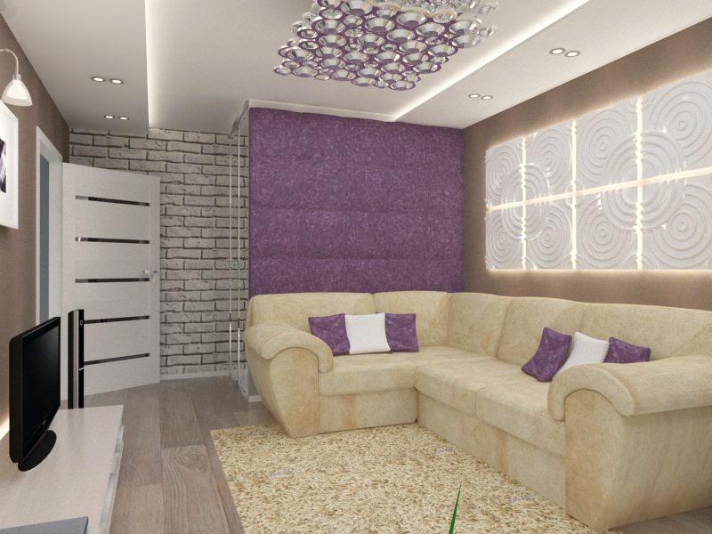 мягкие стеновые панели в гостиной