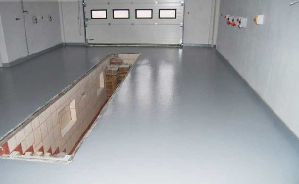Пример гаража с наливным полом