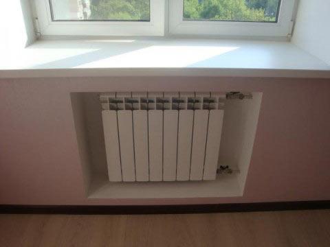 ниша радиатора отопления из гипсокартона