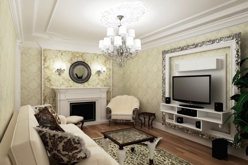 обои для гостиной в классическом стиле