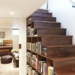оформление пространства под лестницей 9