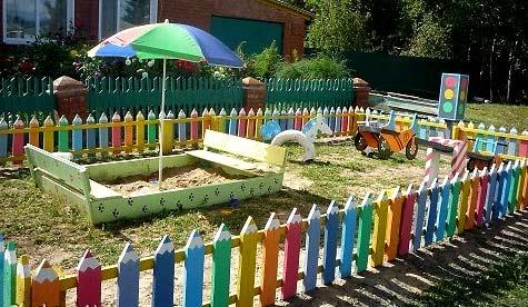 ограждение детской площадки на даче