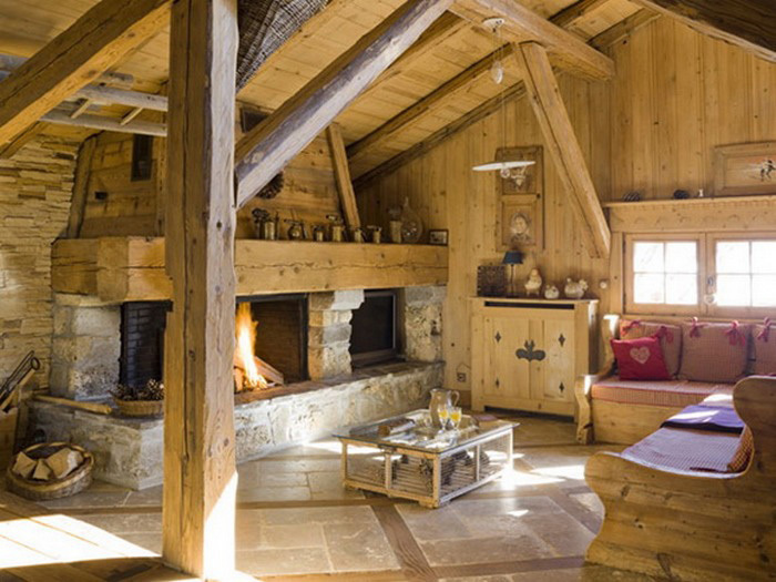 отделка деревянных стен камнем 2