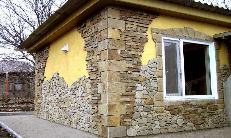 отделка фасада камнем на основе синтетических смол