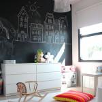 отделка стен в детской грифельной краской