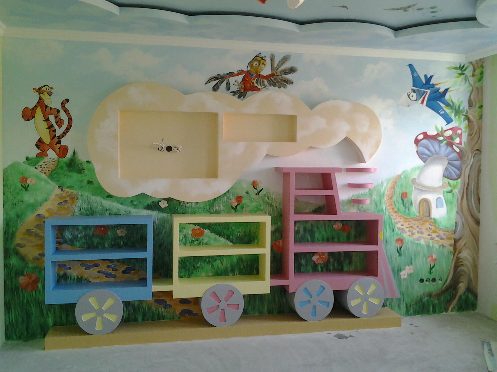 отделка стен в детской краской 2