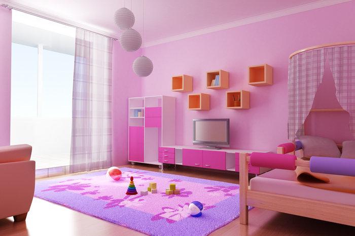 отделка стен в детской краской 3