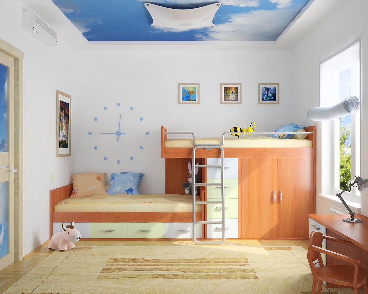 отделка стен в детской краской 4