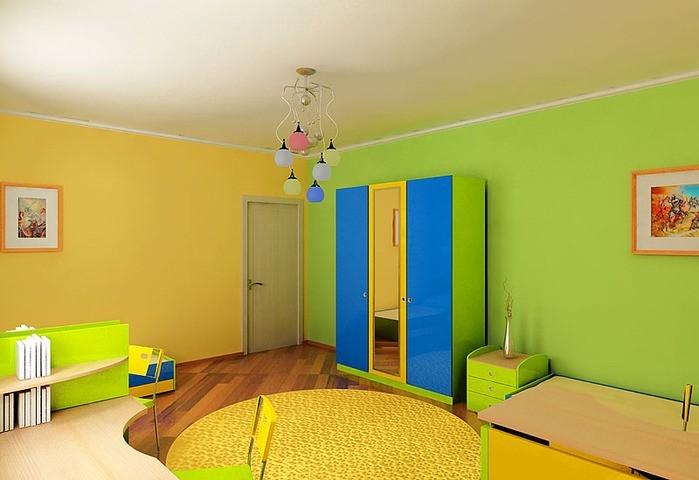 отделка стен в детской краской