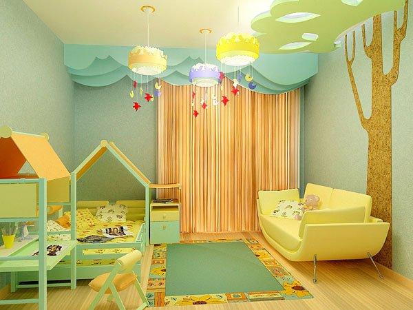 отделка стен в детской тканью