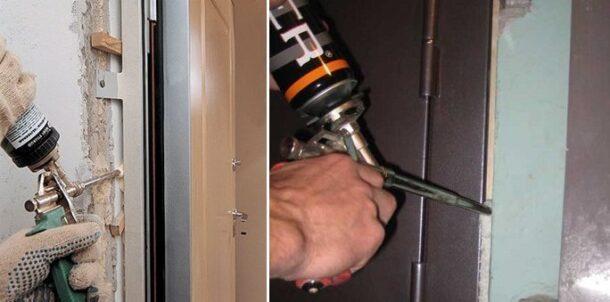 Заполнение щели между коробкой и дверным проемом монтажной пеной