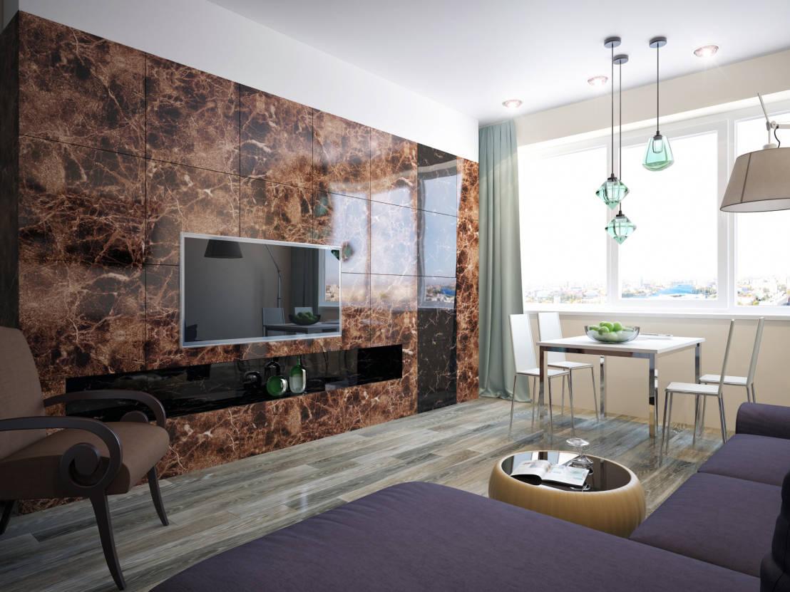 плитка на стенах в гостиной