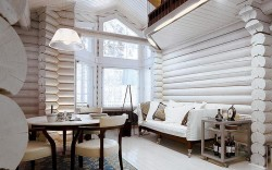 покраска деревянных стен 2