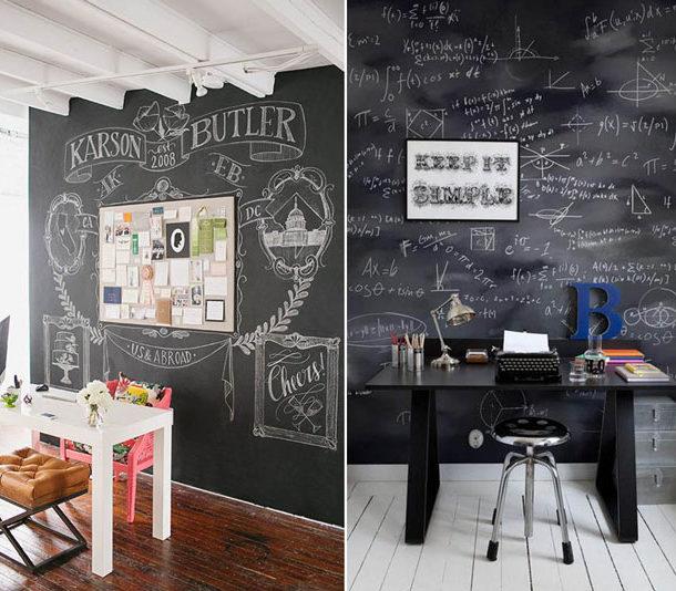 Украшение стены грифельной краской