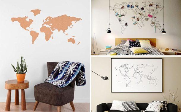 Карта мира для декора стены