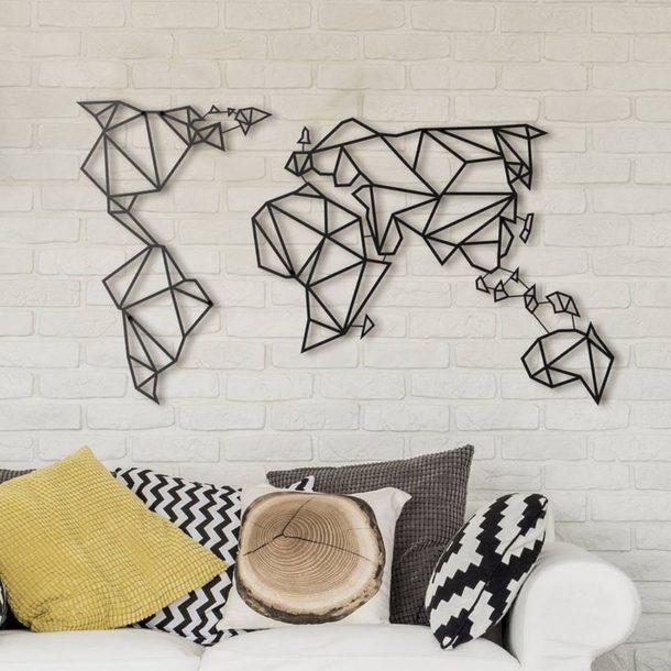 Металлические фигуры в форме карты мира для декора стены