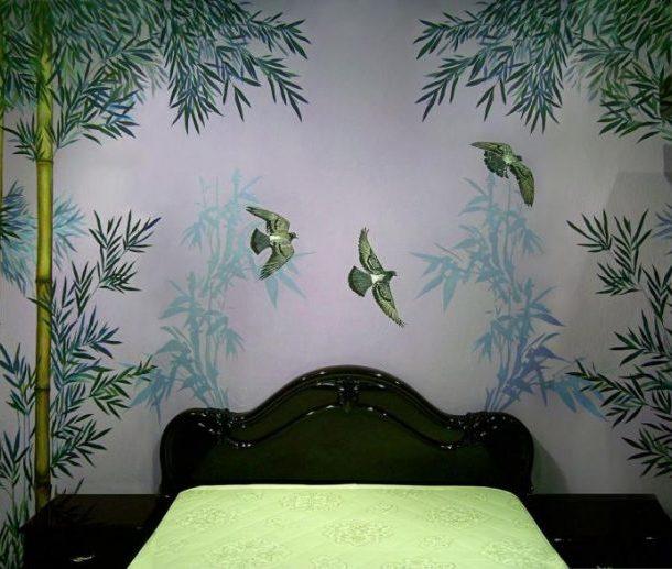 Рисунок на стене с использованием трафарета