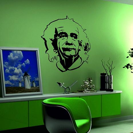 Украшение стены виниловыми наклейками с портретом Эйнштейна