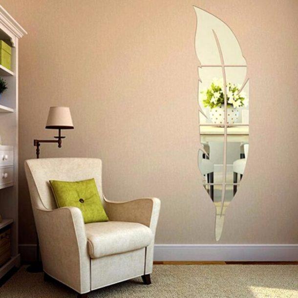 Украшаем стену зеркалами в форме листа