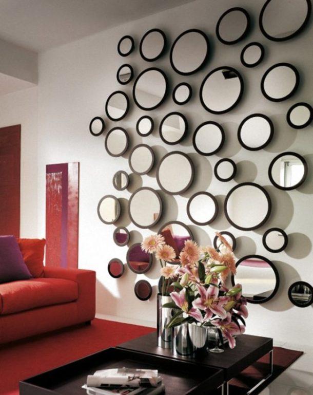 Украшаем стену круглыми зеркалами