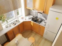 расположение мебели в кухне Г-образное