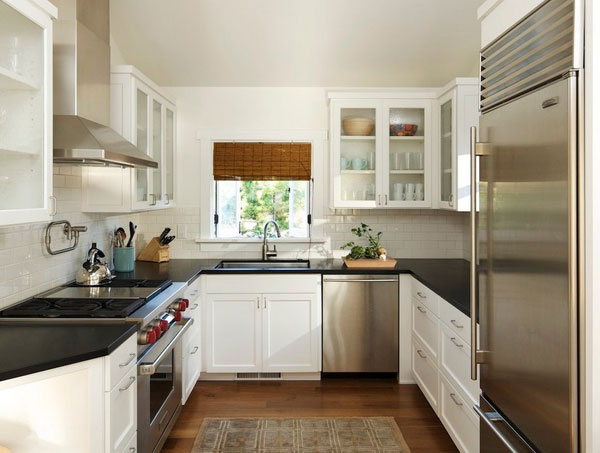 расположение мебели в кухне П-образное э