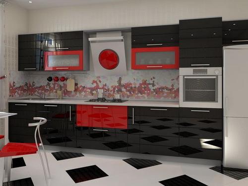 расположение мебели в кухне линейное