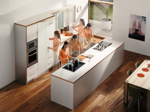расположение мебели в кухне с островом