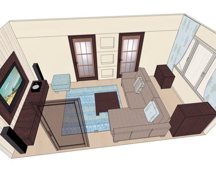 расстановка мебели в гостиной 2