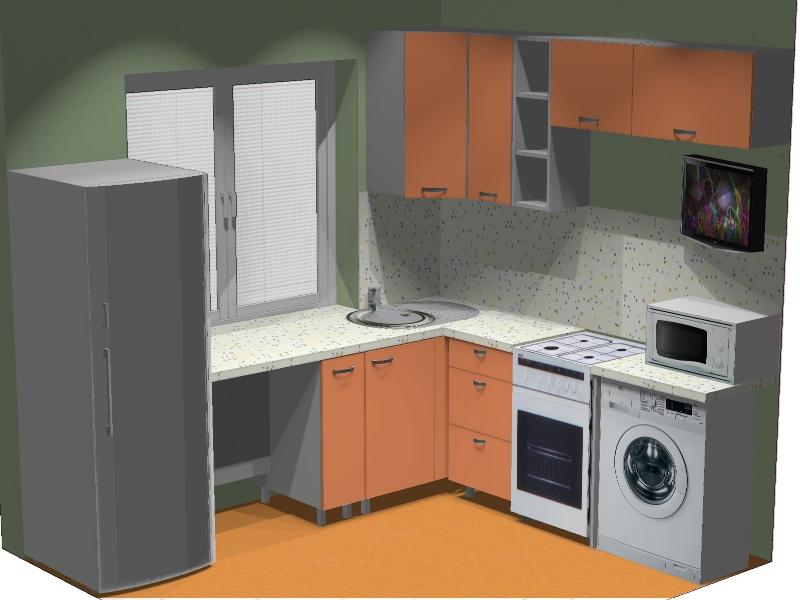 расстановка мебели в кухне план