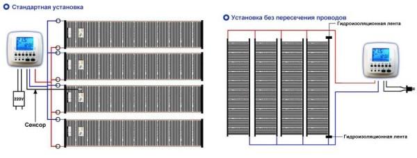 Электрические схемы разных вариантов подключения теплого пленочного пола