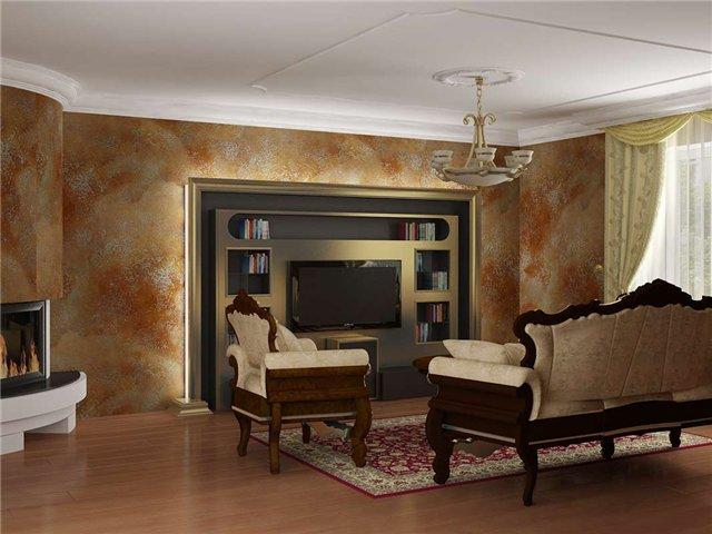 штукатурка стен в гостиной 2