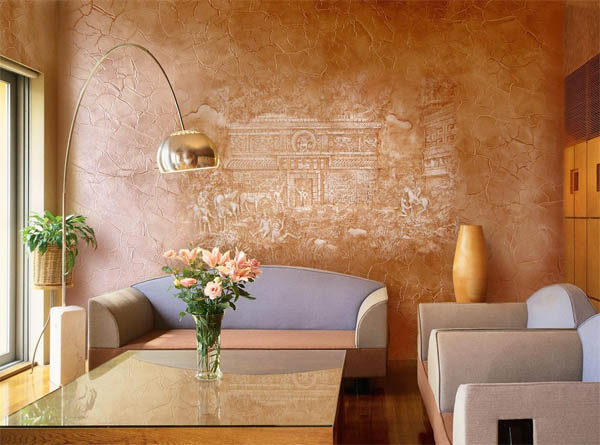 штукатурка стен в гостиной