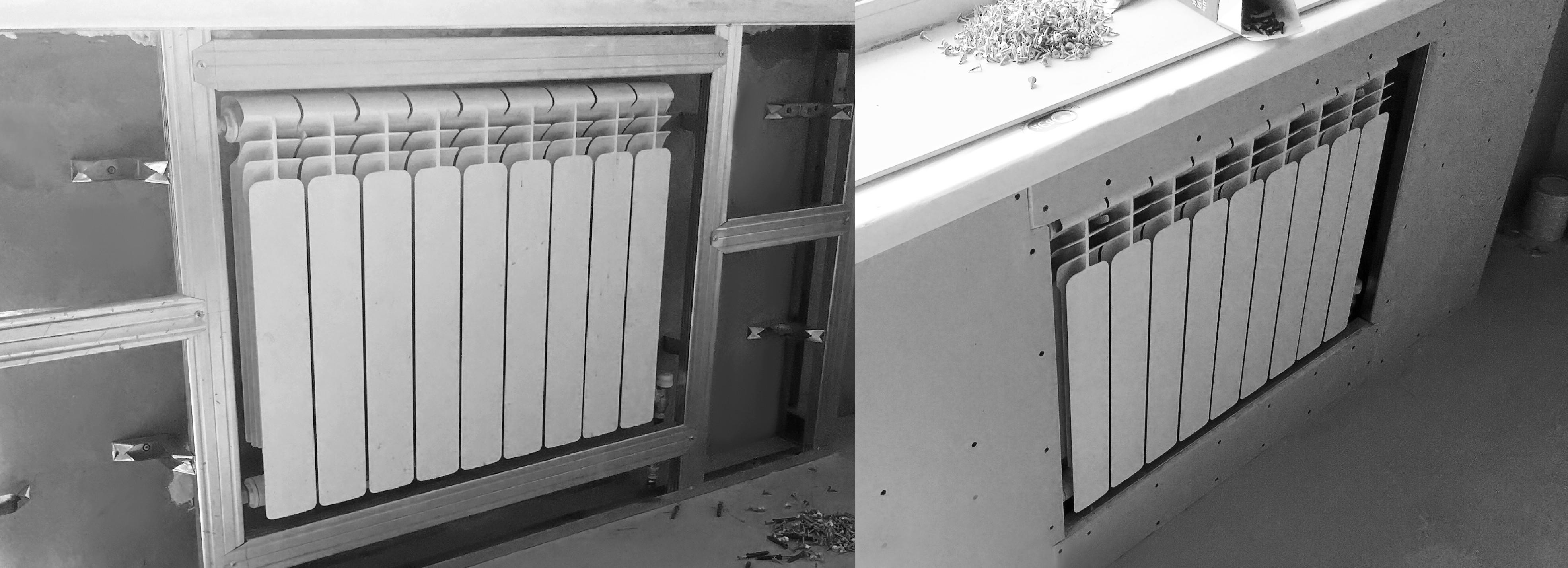 спрятать радиатор отопления гипсокартон