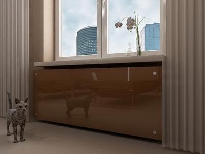 спрятать радиатор отопления стекло