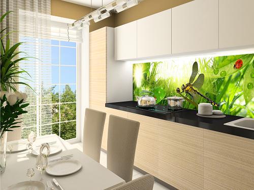 стеклянные панели для стен кухни