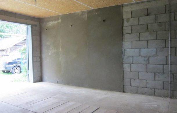 Отделка стен гаража бетоном