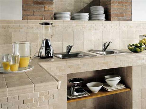 столешница для кухни из керамической плитки 2